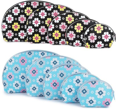 Uberlyfe Light Blue and Black Multipurpose Pouch or Purse with Floral Print - Combo of 10