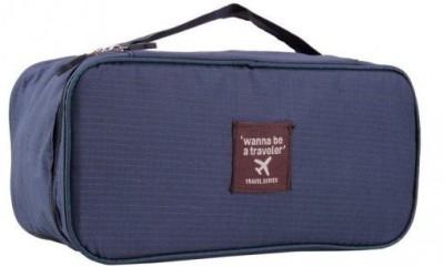 Inventure Retail Undergarments And Innerwear Storage Bag Travel Organiser Polyester Pouch(Navy Blue)