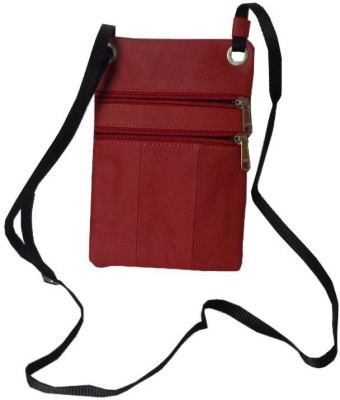 Kan Style 98 Red Genuine Leather Travel Accessories Sling Neck Pouch for Men and Women