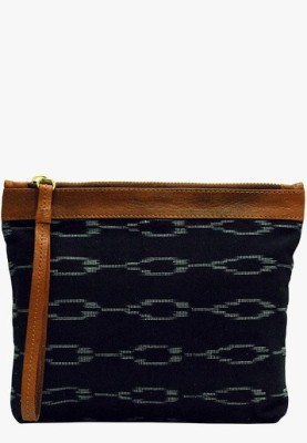Clean Planet Black Ringed Ikat Clutch