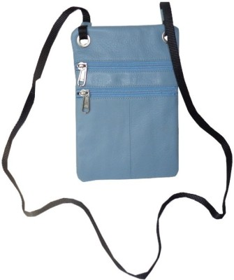 Kan Style 98 Sky Blue Genuine Leather Travel Accessories Sling Neck Pouch for Men and Women