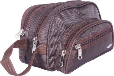 PSH two fold D pocket Travel Shaving Bag(Brown)