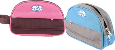 ARcreationz Multipurpose Kit Set Of 2 Aqua/Pink Travel Toiletry Kit