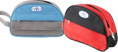 ARcreationz Smart Kit Set of Two Aqua/Red Travel Toiletry Kit