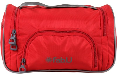 Fab.U Red Polyester Vanity Kit With Mirror Travel Toiletry Kit