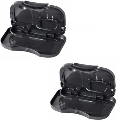 AutoSun Foldable Car Dining Meal Drink Tray Set Of 2 Tata Sumo(Black)