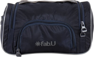 Fab.U Navy Blue Polyester Vanity Kit With Mirror Travel Toiletry Kit