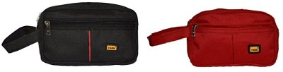 Yark MultiUtility Pouch Black,Red-Set Of 2 Travel Toiletry Kit