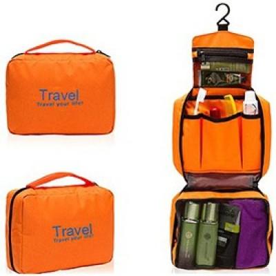 Inventure Retail Travel Buddy Cosmetic Toiletry Shaving Jewelry Hanging Bag Organizer - Orange Travel Toiletry Kit