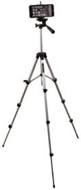 sukot 3.5 Feet Big Tripod For SLR Camera & Mobile Phone Selfie Holder Clip Combo Tripod Kit(Silver & Black, Supports Up to 700 g)