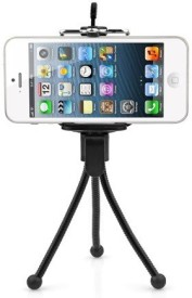 Techvik Adjustable Mini Mobile Phone Camera Stand Clip Bracket Holder And Tripod(Black, Supports Up to 500 g)