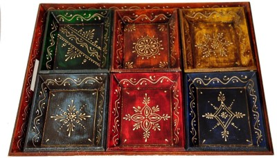 Craftghar Set Of 7 Handpainted Embossed Wood Tray Set