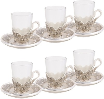Craftghar Elegant Silver & Glass 6-piece Tea Cup & Saucer Set