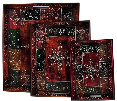Craftghar Set of 3 Handpainted Embossed Wood Tray Set