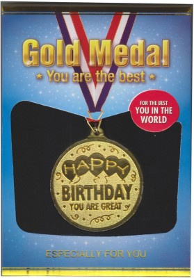 Atpata Funky Happy Birthday Gold Medal Medal