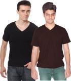 Xarans Solid Men's V-neck Black, Brown T...
