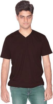Xarans Solid Men's Round Neck Brown T-Shirt