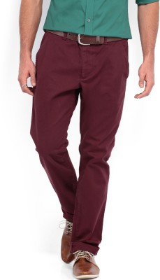 French Connection Regular Fit Men's Maroon Trousers