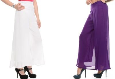 Kyron Regular Fit Women,s White, Purple Trousers