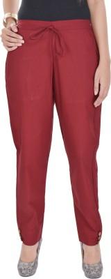 Poopii Regular Fit Women's Maroon Trousers