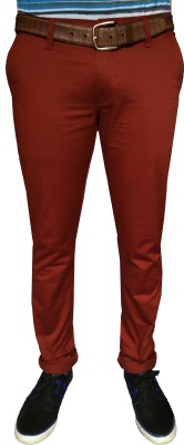 Oiin Slim Fit Men's Maroon Trousers