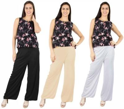 Fashion Flow+ Regular Fit Women's Black, Beige, White Trousers