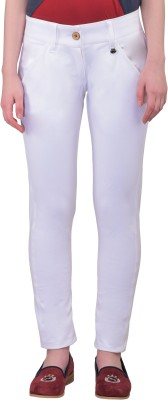 JumpUSA Regular Fit Women's White Trousers at flipkart