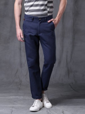WROGN Slim Fit Men's Dark Blue Trousers