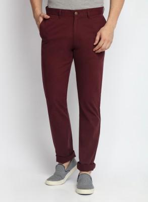 SUITLTD Skinny Fit Men's Maroon Trousers