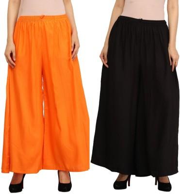 Guru Nanak Fashions Regular Fit Women's Orange, Black Trousers