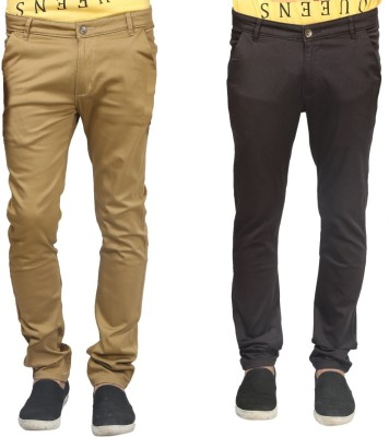 Trendy Trotters Regular Fit Men's Brown, Dark Green Trousers