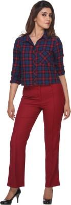 Fast n Fashion Regular Fit Women's Maroon Trousers