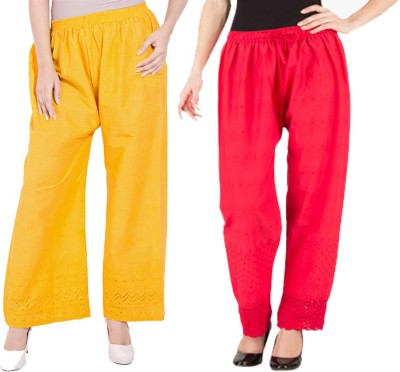 Komal Trading Co Regular Fit Women's Yellow, Red Trousers