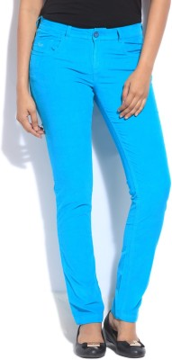 Flying Machine Slim Fit Women's Blue Trousers at flipkart