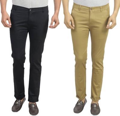 Masterly Weft Slim Fit Men's Black, Beige Trousers