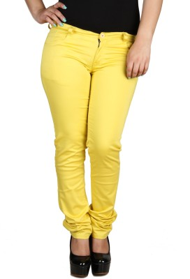 Fashion Cult Slim Fit Women,s Yellow Trousers
