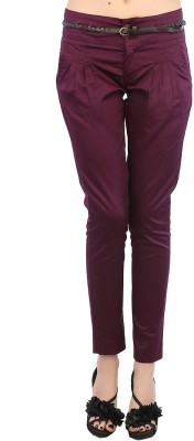 F Fashion Stylus Slim Fit Women,s Maroon Trousers
