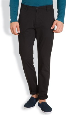 HIGHLANDER Slim Fit Mens Black Trousers