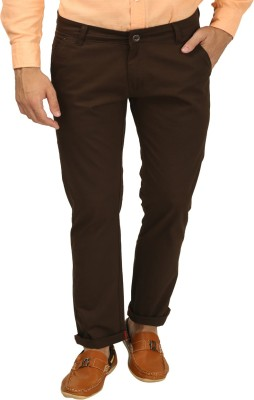 Zavlin Slim Fit Men's Brown Trousers