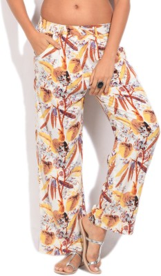 Imara Regular Fit Women's White, Beige, Yellow Trousers at flipkart