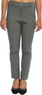 TRYFA Skinny Fit Women's Grey Trousers