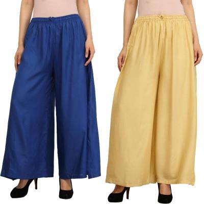 Guru Nanak Fashions Regular Fit Women's Blue, Beige Trousers