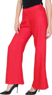 1To9 Regular Fit Womens Red Trousers