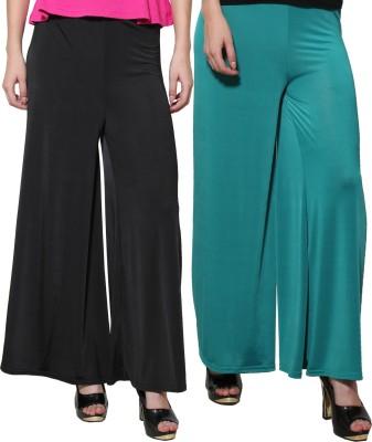 Both11 Regular Fit Women's Green, Black Trousers