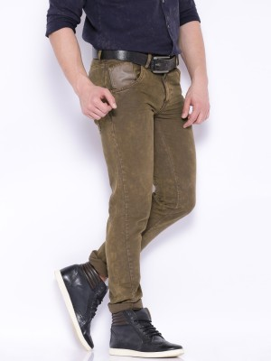 Roadster Slim Fit Men's Brown Trousers