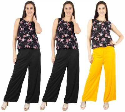 Fashion Flow+ Regular Fit Women's Black, Black, Yellow Trousers