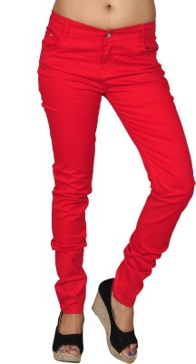 Coaster Skinny Fit Women's Red Trousers