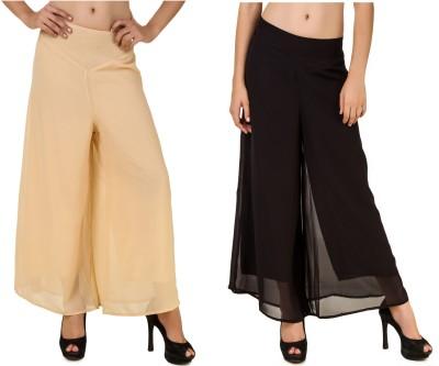 CHIKFAB Regular Fit Women's Beige, Black Trousers