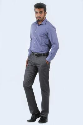 Cotton Berry Slim Fit Men's Grey Trousers