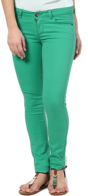 Only Slim Fit Women's Green Trousers at flipkart